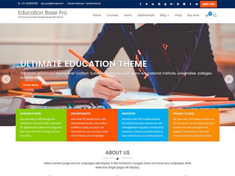 Education Base Pro A Complete WordPress Education Theme