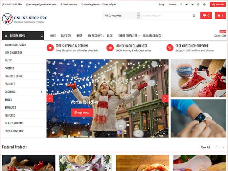 Online Shop Pro Premium WordPress E Commerce Theme