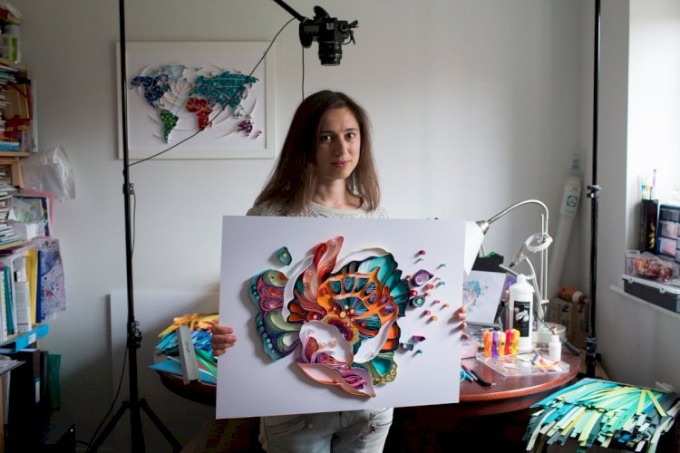 Yulia Brodskaya uses two simple materials paper and glue